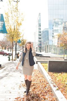 The Striped Dress | Something Good, sweatshirt dress, sweater dress, topshop, old navy quilted vest, seychelle's riding boots, kendra scott necklace, rayne, jewelry, clothing, clothes, style, fashion, fall fashion