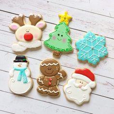 Christmas, reindeer, Christmas tree, snowflake, snowman, gingerbread boy, santa, winter