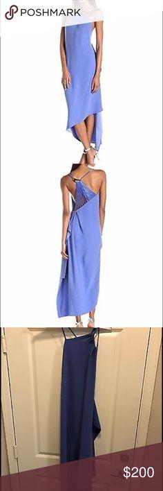 HALSTON Satin Back Crepe Asymmetrical Dress Halston Heritage blue dress Crepe Draped, satin trims, side split, asymmetric hem Slips on 100% polyester; trims: 97% polyester, 3% spandex Dry clean Designer color: Wisteria Halston Heritage Dresses Asymmetrical