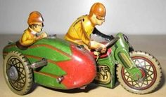 PAYA Tin-Motorcycles Motorcycle with sidecar wind-up toy, Historytoy