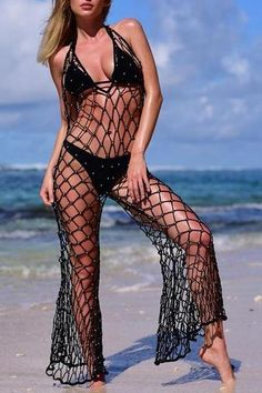 Beads Fishnet Crochet Cover Up – vacation outfit ideas,vacation wear,vacation clothes,outfit vacation,vacation fashion,summer vacation style,travel dresses summer,summer vacation clothes  #vacationdresses #caribbean #beach #vacationdressesmexico #vacationdressescasual #summer #boho #maxi #hawaii #streetstyle #fashion #stripeddressoutfit #vacationdressesbeach
