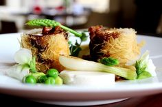 Crispy John Dory fillet with green peas, almonds, spring onions and San Daniele jus John Dory, Green Peas, Lunch Menu, Four Seasons Hotel, Almonds, Onions, Appetizers, Restaurant, San