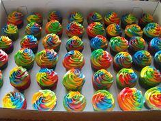 tye-dye / rainbow cupcakes