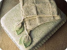 """Ravelry: TraceyNicole's hip to be square Blanket - which incorporates Hinke's """"Just A Leaf Pattern""""  So pretty."""
