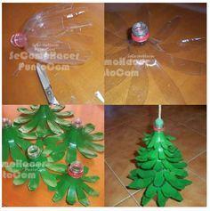Tutorial arbol de Navidad hecho con botellas de gaseosas