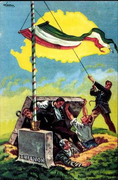 Kingdom of Hungary, irredentist anti-Treaty of Trianon poster. Yellow map outline shows borders. Hungary History, Map Outline, Illustrations And Posters, Eastern Europe, Military History, Attack On Titan, World War Ii, Vintage Posters, Tarot