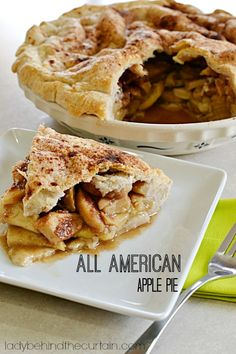 This All American Apple Pie is stacked high with juicy Granny Smith apples, brown sugar and cinnamon.  YUM!  Celebrate Summer right with this delicious juicy pie.