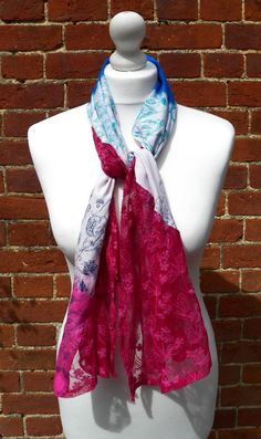 Hand screen printed elegant pink blue and by HollyEdenTextiles, £25.00