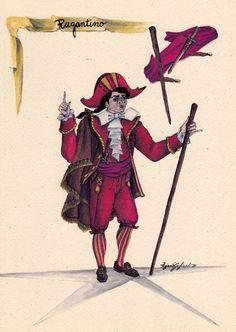 """Rugantino: maschera romanesca del teatro dei burattini; il suo nome deriva da """"ruganza"""", arroganza. Ennesima variazione del Capitano, visto nella sua forma più popolare, impersona il tipo del litigioso inconcludente sempre sopraffatto dalle brighe che provoca."""