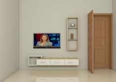 Made up of plywood with laminate finish. The living room looks clutter free with this beautifully crafted TV Unit. Tv Unit Furniture Design, Space Saving Furniture, Living Room Tv Unit Designs, Tv Cabinet Design, Modern Tv Units, Simple Tv, Tv Wall Decor, Living Room Cabinets, Wall Mounted Tv