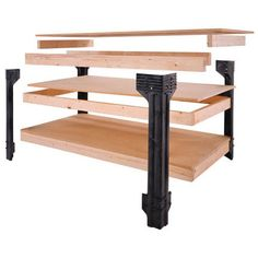 Workbench kit Just add Lumber Large storage shelves Simple assembly, only straight cuts required Can be made larger than all other workbenches available Heavy gauge, impact and solvent resistant Made