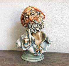 """Antique Figurine, Capodimonte Antonio Borsato """"Man With Pipe"""" Porcelain Sculpture, Italian Figurines, Antique Sculpture, Italian Sculpture"""