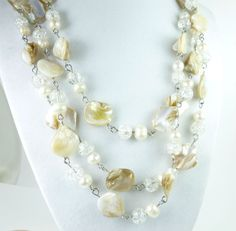 "Freshwater #Pearl White Beige Mother of Pearl 58"" #Necklace @dianesdangles #artfire"