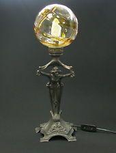 ANTIQUE ART NOUVEAU RARE LAMP PALLME KONIG GLASS SHADE W WOMAN FLORAL 1900's   $5800.00 eBay Aug 2014