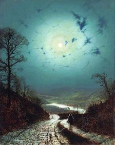John Atkinson Grimshaw - Moonlight, 1871. Oil on cardboard, 44.4 x 34.3 cm. Private Collection (Sold by Christie's (London) on March 15, 2012)
