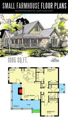 amazing houses #DREAMHOUSES Cottage House Plans, Dream House Plans, Small House Plans, Dream Houses, Small Cottage Plans, Small Rustic House, One Bedroom House Plans, Luxury Houses, The Plan