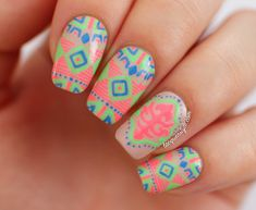 Neon Tribal (Katy Perry Inspired) nails by Kristin (Lacquerstyle)