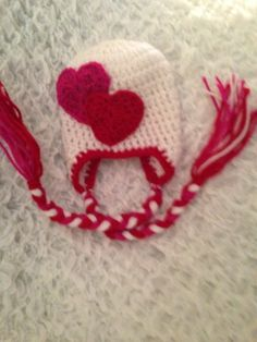 Valentines Heart crochet hat with ear flaps by Dots of Love Creations   - dotsoflovecreations@gmail.com