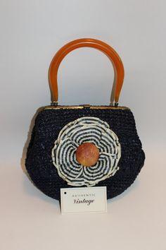 Lulu 1960s Morris Moskowitz navy blue wicker handbag by lindasline