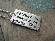 Personalized sterling silver Hand stamped 'teacher by noisycricket