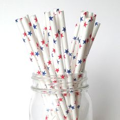Stars 4th of July Paper Straws Red White and Blue- Delight your firecracker with our Star 4th of July paper Straws!  Ships free on TwigsandTwirls.com