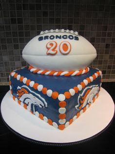 Grooms cake Denver Broncos - For a fan of the Denver Broncos turning 20 Denver Broncos Cake, Broncos Fans, Sport Cakes, Cute Cakes, Creative Cakes, Let Them Eat Cake, Cake Designs, Amazing Cakes, Cupcake Cakes