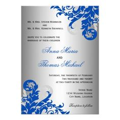 royal blue themed weddings | Royal Blue and Silver Flourish Wedding Personalized Announcements from ...