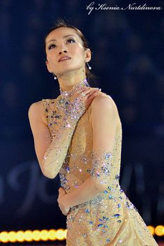 Shizuka Arakawa  Gold/ natural hued Figure Skating / Ice Skating dress inspiration for Sk8 Gr8 Designs