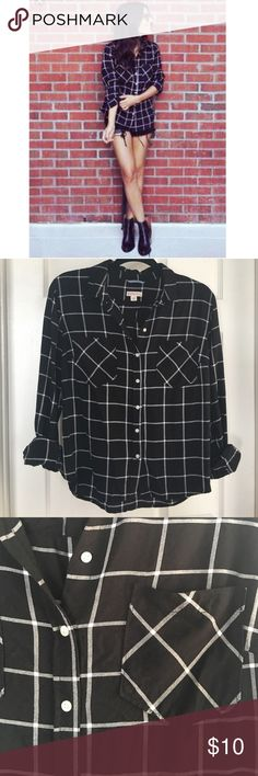 Grid print button down shirt •grid print button down •size tag says L, but fits more like a M •100% Rayon  •as seen on beauty vlogger Teni Panosian  •No Trades , No off site transactions Tops Button Down Shirts