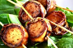 Bacon-wrapped scallops? Nope, these vegan versions are way better! Grilled Eggplant Wrapped King Oyster Mushrooms.