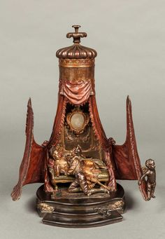 - A Very Fine & Rare Viennese Bronze Musical Box Table Lamp Of an Erotic Nature By Franz Bergman