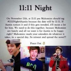 OH MY GOSH !!! ITS TODAY WELL I WILL BE SLEEPING SO#1111Night4Austin @Austin Mahone i want to make sure you read it :)