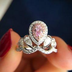 Pink Diamond Engagement Ring, Engagement Ring Shapes, Diamond Rings, Pink Ring, Pink Stone, Beautiful Rings, Colored Diamonds, Wedding Rings, Fancy