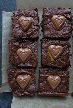 Caramel Brownies in a 8x8 pan for Valentine's Day dessert for two