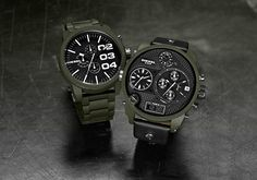 Diesel durable matte green ceramic powder coated watches that's used on tanks and firearms.