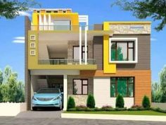 Modern Two Storey House With Seven Bedrooms And Open Terrace - House And Decors 3 Storey House Design, One Storey House, House Front Design, Small House Design, Modern House Design, Building Elevation, House Elevation, Double Storey House Plans, Modern Architectural Styles