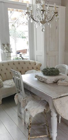 Sofa + Chandelier + Whites + Greys = Shabby Chic Heaven!