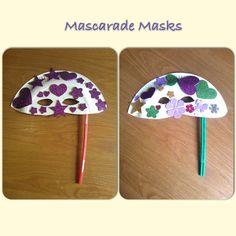 Mascarade masks with paper plates and art straws. Paper Plate Masks, Paper Plate Crafts, Paper Plates, Summer Camp Crafts, Camping Crafts, Kindergarten Classroom, Classroom Ideas, Mascarade Mask, Halloween Stuff