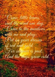 Harris Sisters GirlTalk: Come, Little Leaves Poem (includes link to fall foliage map)