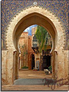 Morocco via Epcot Center. I love Epcot. Islamic Architecture, Art And Architecture, Moroccan Interiors, Moroccan Design, Moroccan Style, Moorish, Disney Vacations, Islamic Art, Beautiful Places