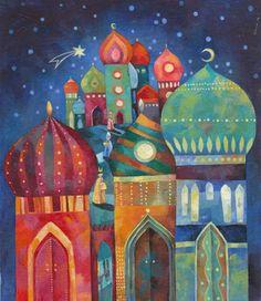 Entre Lápis e Pincéis Art Arabe, Pop Art, Arabic Art, Christmas Drawing, Art Et Illustration, Arabian Nights, Russian Art, Silk Painting, Islamic Art