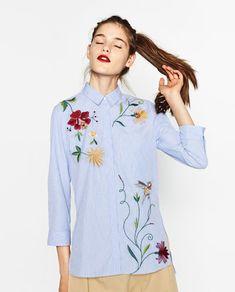 EMBROIDERED POPLIN SHIRT-Shirts-TOPS-WOMAN | ZARA Egypt