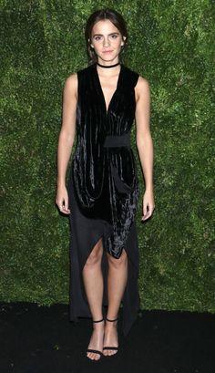 Emma Watson in a black velvet dress