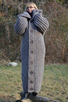 Items similar to ORDER hand knitted cardigan chunky wool sweater coat handmade long cardigan thick new One size T-neck wool coat Plus Size by Dukyana on Etsy Knitted Coat, Mohair Sweater, Sweater Coats, Jumper, Thick Sweaters, Cool Sweaters, Long Cardigan, Knit Cardigan, Chunky Knitwear