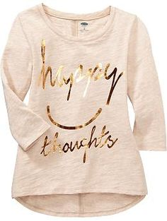 Girls Hi-Lo Text-Graphic Tees   Old Navy