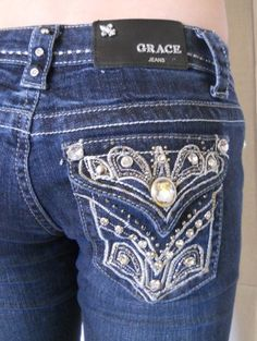 Bought a pair and love them! Grace in LA Denim Jeans Womens Fancy Stitched Crystal Bling