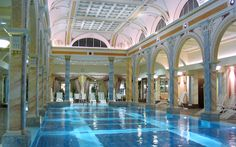 Swimming Pool, Roman Indoor Swimming Pool With Marble Tile Pillars Pool  Lighting Also White Lounge Chairs: Building Sweet Indoor Pool At Home