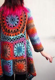 Super cool crochet granny square jacket tutorial. Use google translator.