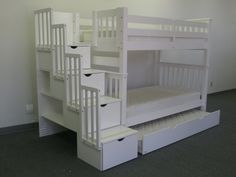 ANA WHITE COTTAGE LOFT BED WITH STAIRS | Tall Stairway Bunk Bed plus Twin Trundle