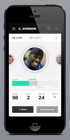 Fantasy Leagues App by Brian Waddington, via Behance